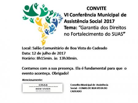 Município realizara Conferencia Municipal de Assistência Social